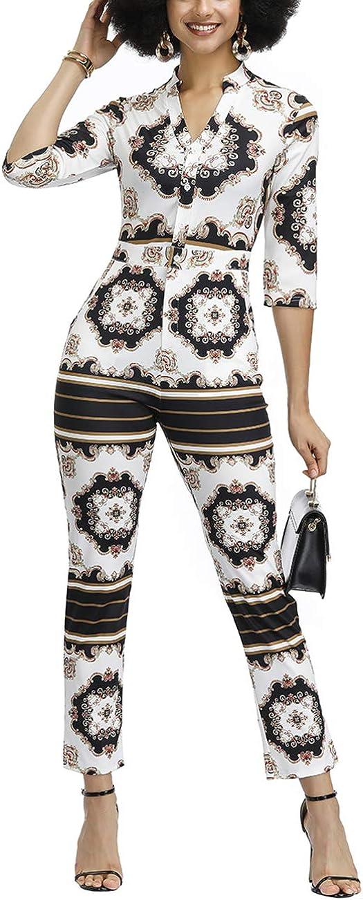 FeelinGirl Mujer Vestido Estamapdo Barroco con Mangas Jumpsuit Elegante Cintura Alta