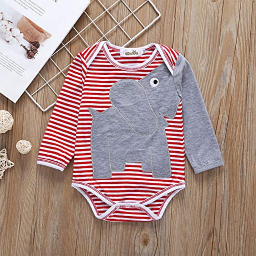 25d567a7ef8bc BOOMJIU 0-24 Months Newborn Infant Baby Kids Girl Boy Elephant Striped  Romper Jumpsuit Sunsuit Outfits Clothes Red