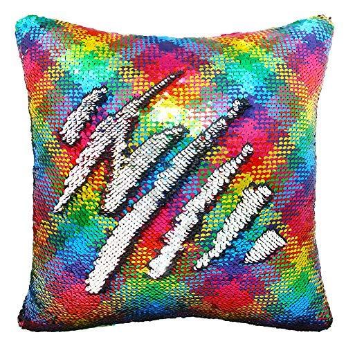 Sirena funda de almohada, Play Tailor magia reversible de lentejuelas de almohada Caso cubierta del amortiguador 40x40cm (Onda del arco iris-Plata)