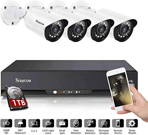 Rraycom 8CH Security Surveillance System HD-TVI 2MP Lite 5 in1 DVR with 4pcs 720P Weatherproof CCTV Security Camera Outdoor,115ft Night Vision, IP Camera, Motion Alert, Remote Access, with Hard Disk