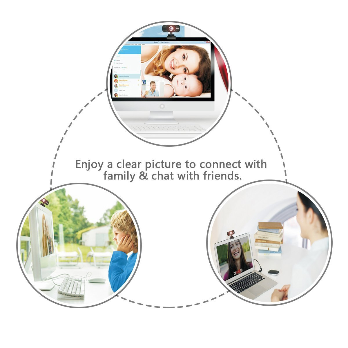 720P HD Webcam, EIVOTOR USB Mini Computer Camera with Built-in Microphone for Laptops and Desktop,Black by EIVOTOR (Image #6)