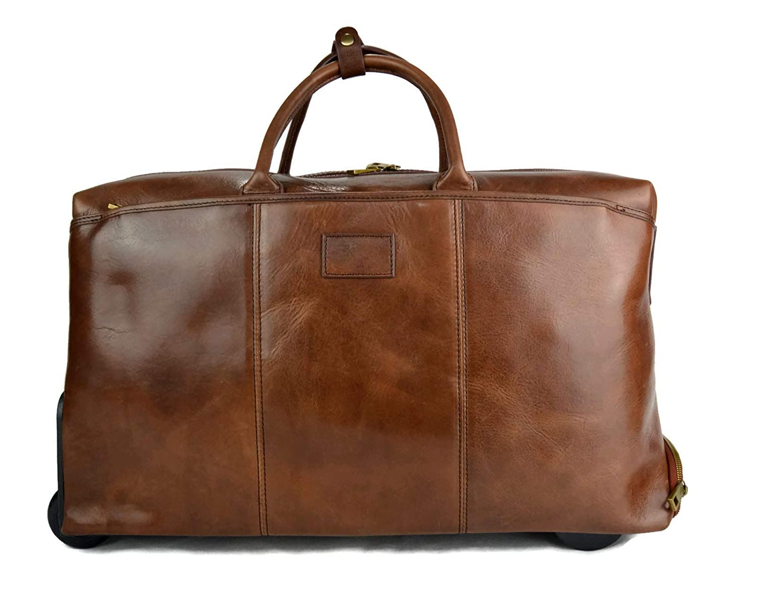 490245122bec Amazon.com  Brown leather duffle trolley travel bag weekender overnight  leather bag with swivel wheels leather cabin luggage airplane carryon gym  bag  ...