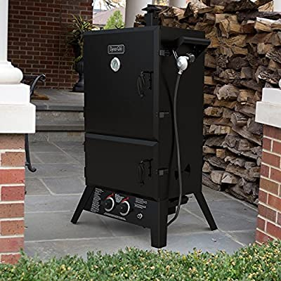 "Highest Rated Top Selling Powder Coated Solid Steel Propane Gas Smoker Grill Pro Barbecue- Multiple Tier Cooking Grilling Grates- Sausage Meat Rib Hooks Wood Chip Container- 1235"" Surface 20000 BTU from Dynamic"