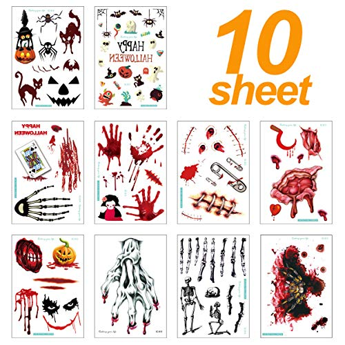 10 Sheets Halloween Temp Tattoo Fake Bloody Wound Scar Body Decoration Temporary Tattoos Stickers for Adults Kids Face Hand Leg for Cosplay Costume Party