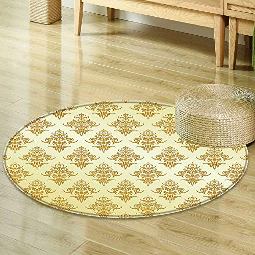 Mikihome Print Area Rug Yellow Decor Collection Ornate Traditional Victorian Renaissance Antique Patterns on Vintage Background Design Golden Yellow Perfect for Any Room, Floor Carpet R-24