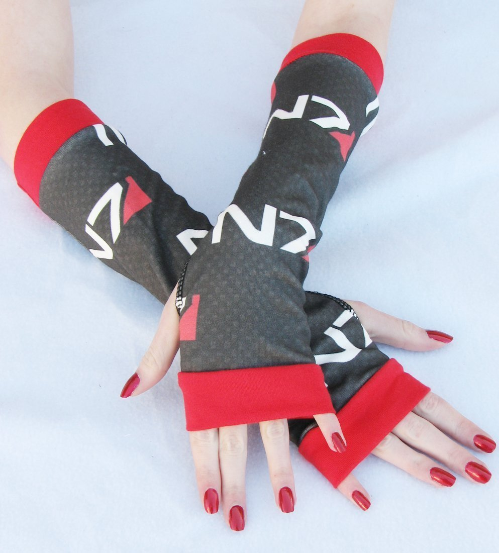 Mass Effect Gamer Arm Warmers Fingerless Gloves