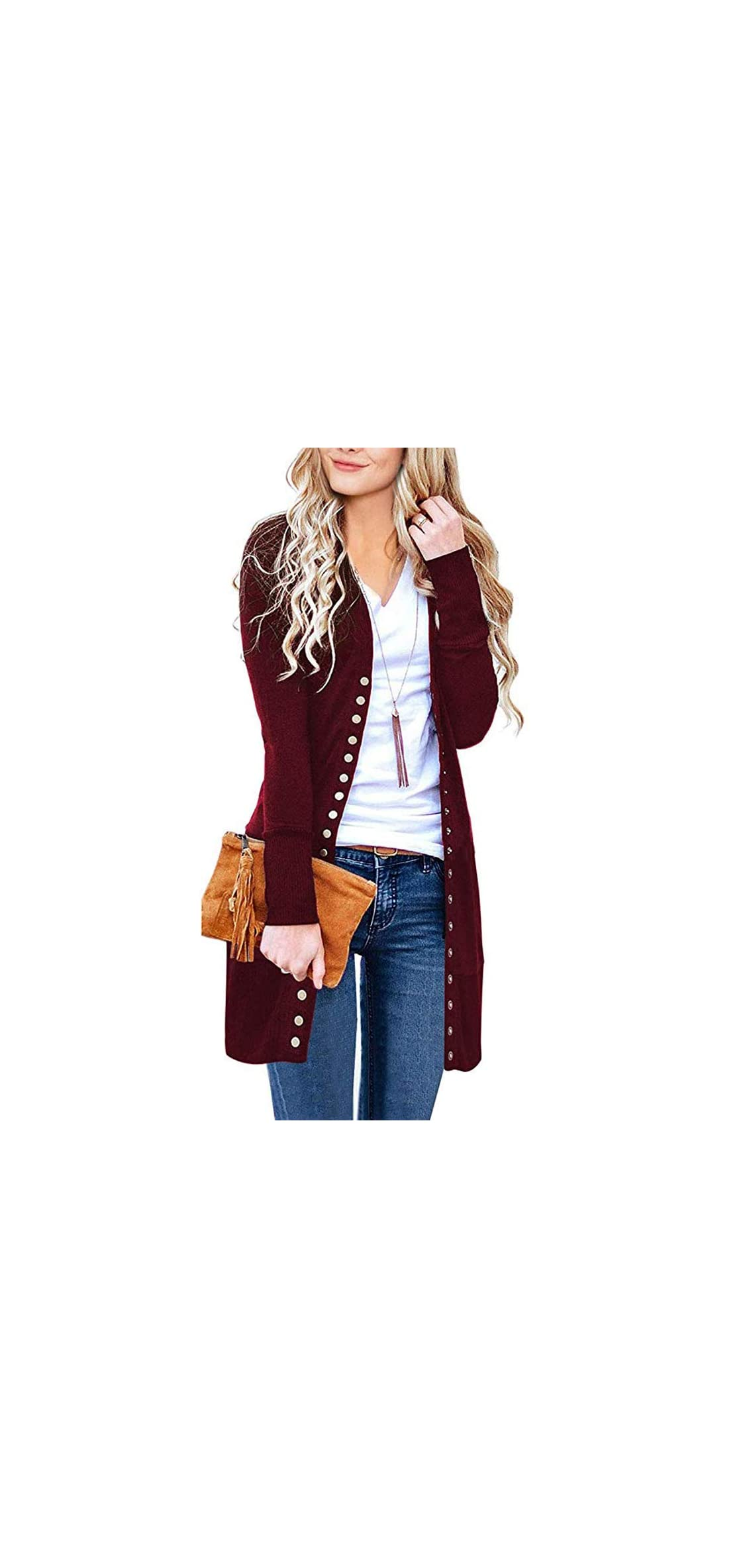 Women's Long Sleeve Snap Button Down Ribbed Neckline Knit