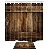 KOTOM Rustic Decor Shower Curtain by, Vintage Country Old Wood Barn Door, Polyester Fabric Bath Curtains Set with Hooks 69W X 70L Inches