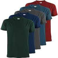 ALPIDEX T-Shirt Camiseta para Hombre un Juego de 5 con Cuello Redondo - Unicolor Tallas S M L XL XXL 3XL 4XL