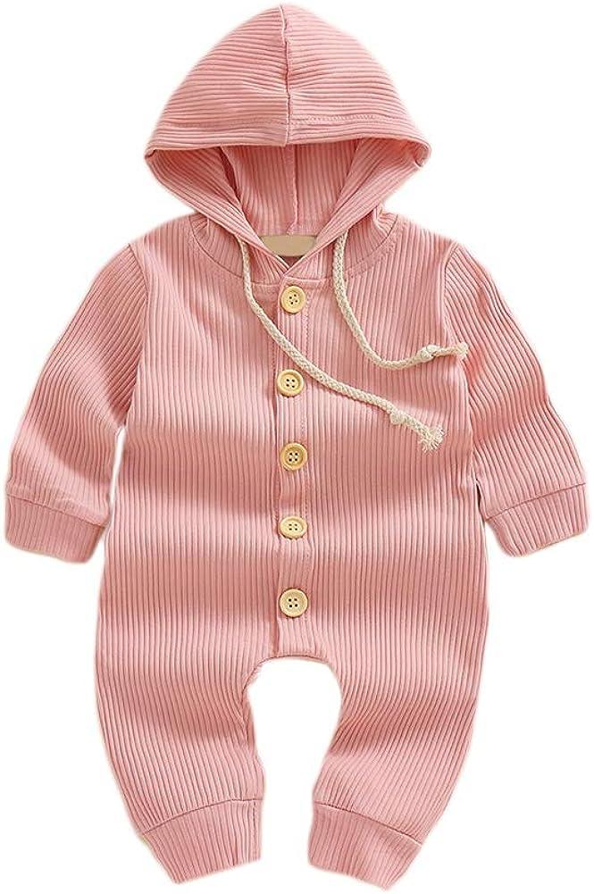 Hongyuangl Baby M/ädchen Junge mit Kapuze Overall Langarm Einteiler Playwear Strick Baumwolle Overall Hosen Strickwaren 0-18 Monate