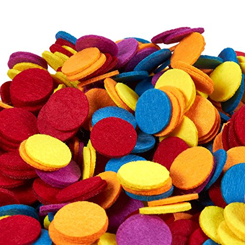 Juvale Felt Circles - 1000-Count Round Felt Shape Embellishments, Felt Ornaments for DIY Art and Craft Decoration Projects, Assorted Colors