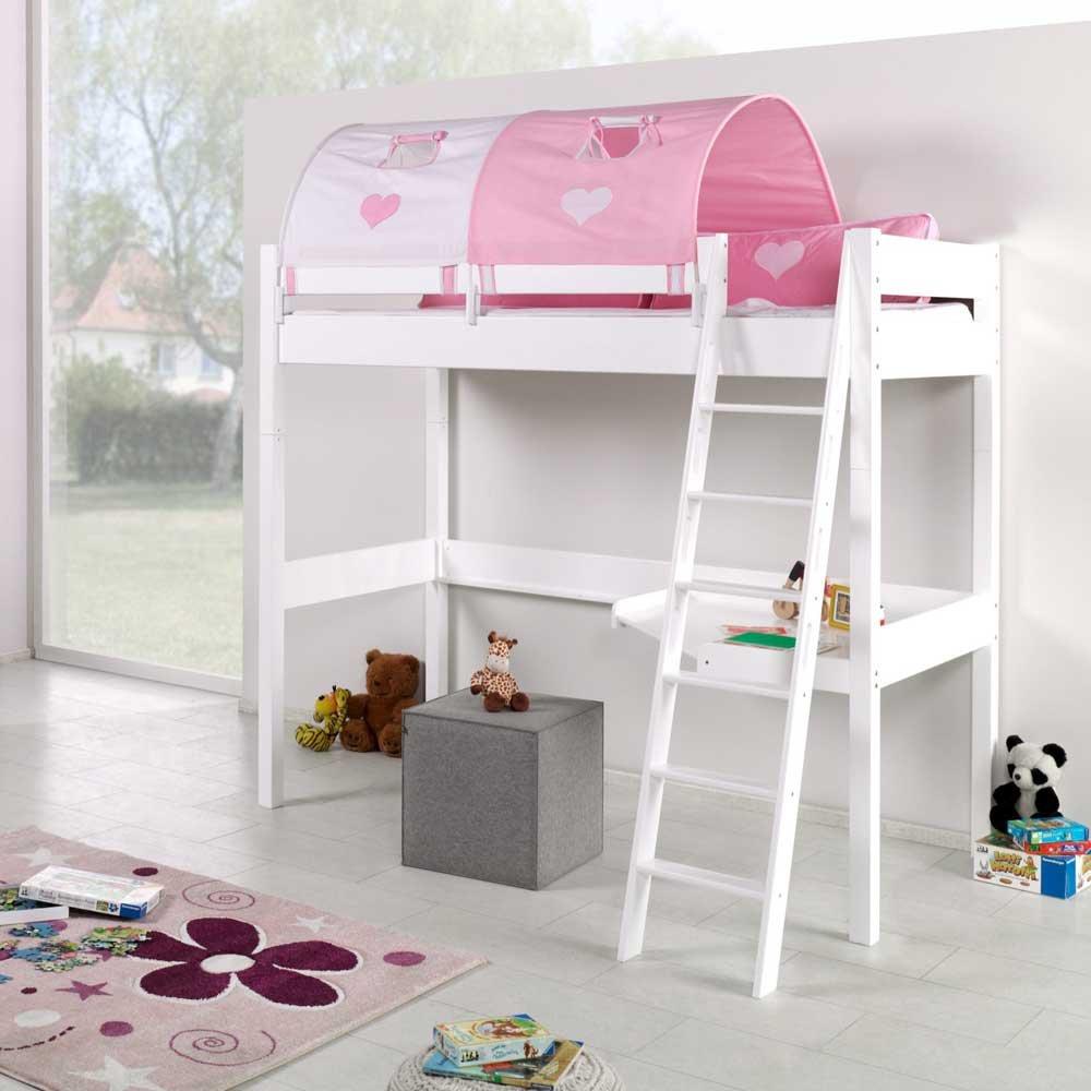 Pharao24 Mädchen Hochbett in Weiß Rosa mit Schreibtisch und Tunnel