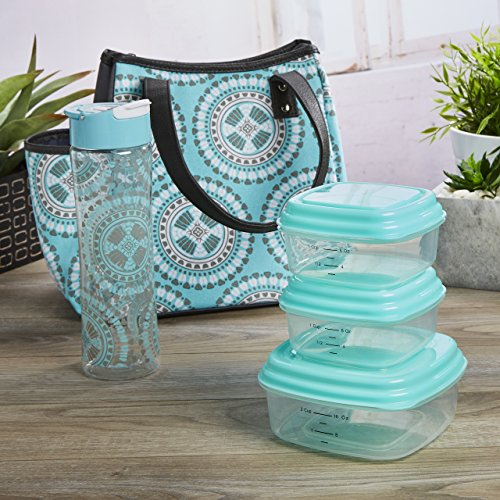Fit & Fresh Westerly Insulated Lunch Bag Kit for Women with Reusable Container Set and Matching Water Bottle, Aqua Aztec -