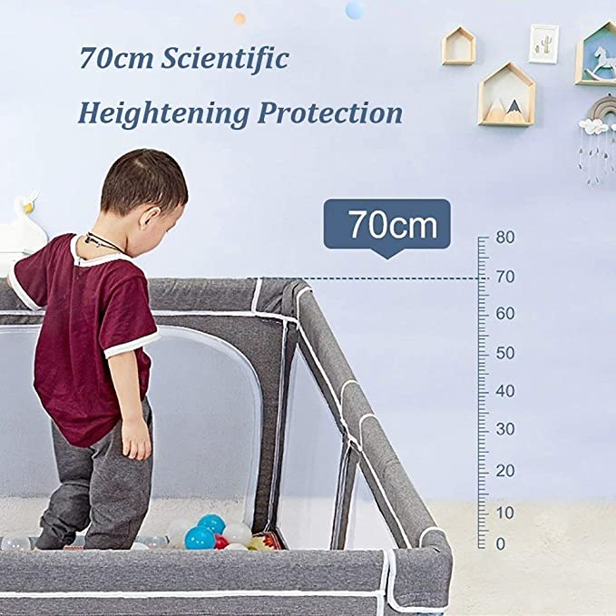 Extra Tall 70cm Home Indoor Outdoor New Pen with Crawling Mat Safety Play Yard Size : 120x120cm Playpen Baby for Toddler