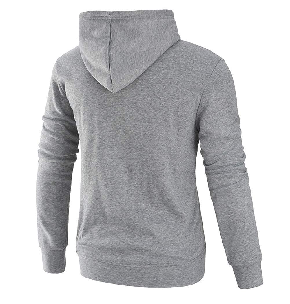 Eveliyning Mens Casual Active Velvet Hoodies Pullover Sports Solid Color Sweatshirt