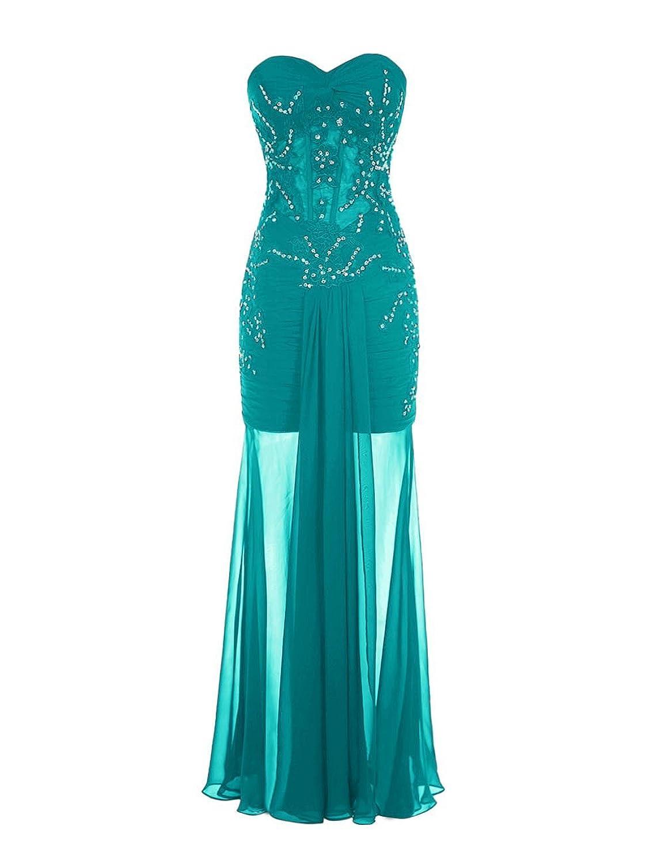 Promworld Women's Sweetheart Beaded Chiffon Evening Dress