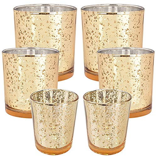Just Artifacts 6pc Assorted (Size) Gold Mercury Glass Votive Tealight Candle Holder Set - Mercury Glass Votive Tealight Candle Holders for Weddings, Parties, and Home Décor (Glass Set Mercury)