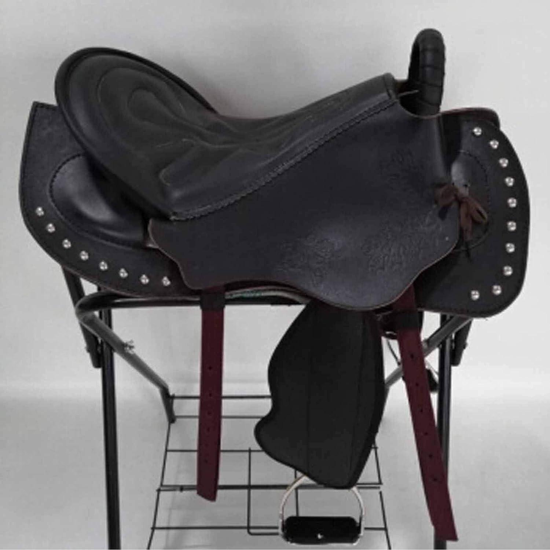 WSSW silla de montar de caballo occidental silla de montar sin árboles conjunto completo de sillín integrado Western Equestrian suministros multifuncionales silla montar a caballo cómodo negro