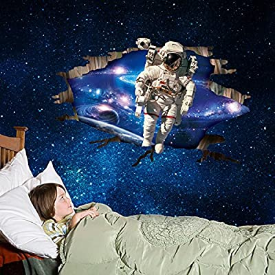Osye 60x90cm 3D Astronauts Wall Decals Window Stickers Removable Wallpaper for Kid's Bedroom