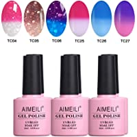 AIMEILI Soak Off UV LED Gel Nail Polish Temperature Colour Changing Multicolour/Mix Colour/Combo Colour Set Of 6pcs X 10ml - Kit Set 14