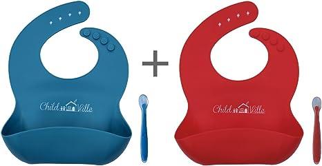 Resistente al agua silicona comida para bebé baberos con alimentación Catcher Bolsillo – Pack 2 Baberos + 2 cucharas azul / rojo: Amazon.es: Bebé