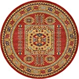 Beautiful Traditional Serapi Cllection Design, Red 6' FT Round Area Rug - Home Décor Foor Carpet Living Dinning Room and Bedroom Rugs, Warm Up Your Home Décor