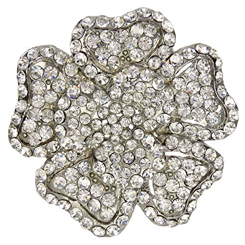 Five Petal Ontario Wildflower Brooch Crystalized with Swarovski Elements (White) (Wildflower Brooch)