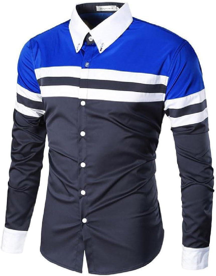 LinkShowMen LinkShow Men Striped Long Sleeve Spell Color Lapel Elegant Down Shirts