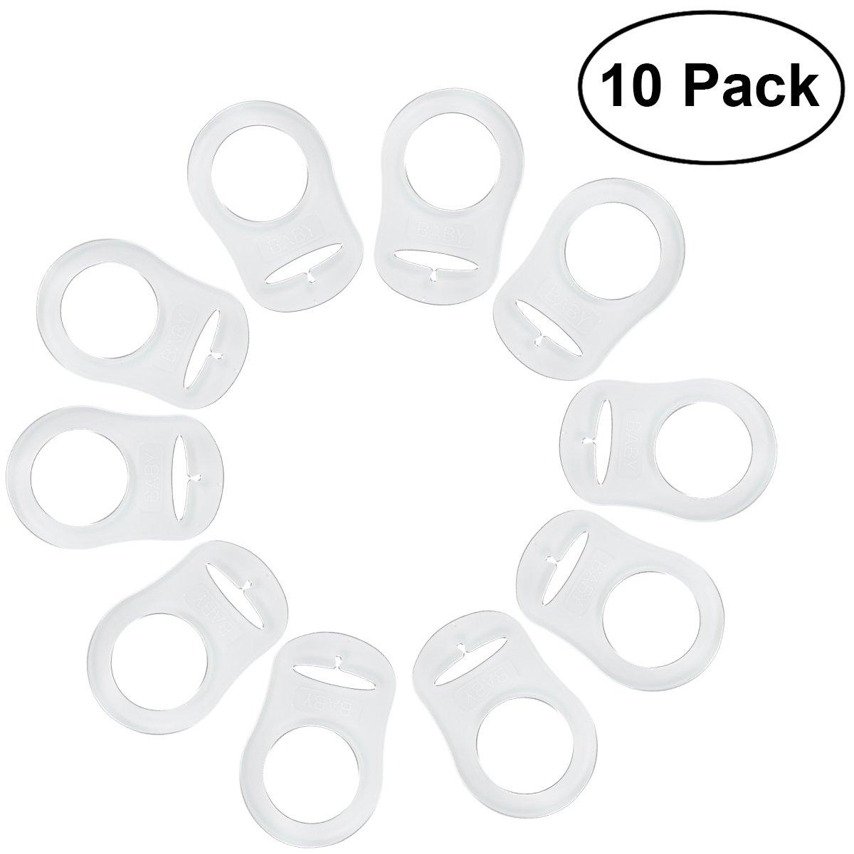 NUOLUX 10pcs Anillo de Silicona Chupete Soporte Clip de adaptador transparente