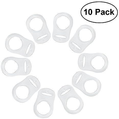 NUOLUX 10pcs Anillo de Silicona Chupete Soporte Clip de adaptador (transparente)
