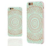 iPhone 6 Case, iphone 6 4.7 case,iphone6 case ,ChiChiC full Protective unique Stylish Case slim flexible durable Soft TPU Cases Cover for iPhone 6 4.7 inch,geometric turquoise mandala wood grain