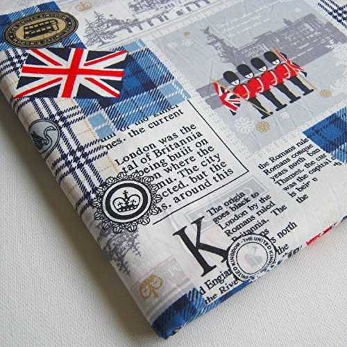 English Fabric - London UK Britain Cotton Fabric, England Attraction United Kingdom Union Jack, Big Ben on White 36 by 36-Inch Wide (1 Yard) (CT161)