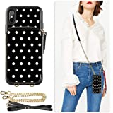 ZVE Wallet Case for iPhone Xs Max, 6.5 inch, Case with Credit Card Holder Slot Crossbody Chain Handbag Purse Wrist Zipper Strap Case Cover for Apple iPhone Xs Max 6.5 inch - Polka Dots