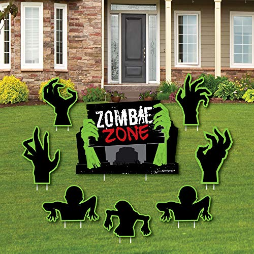 Zombie Zone - Yard Sign & Outdoor Lawn Decorations - Halloween or Birthday Zombie Crawl Party Yard Signs - Set of 8 -