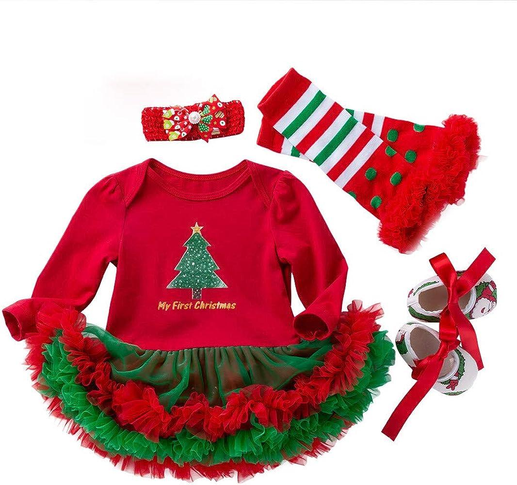 HappyDoggy Child Baby Girls St Patricks Day Outfit 4 Pieces Green Shamrocks Tutu Dress Set