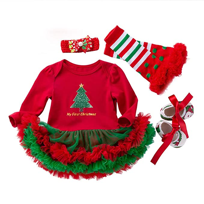 Newborn Christmas Pictures.4pcs Baby Outfits Sets Lianmengmvp Newborn Christmas Princess Snowflake Tutu Dresses Santa Outfits Girls Clothes Infant Tutu Costumes My First