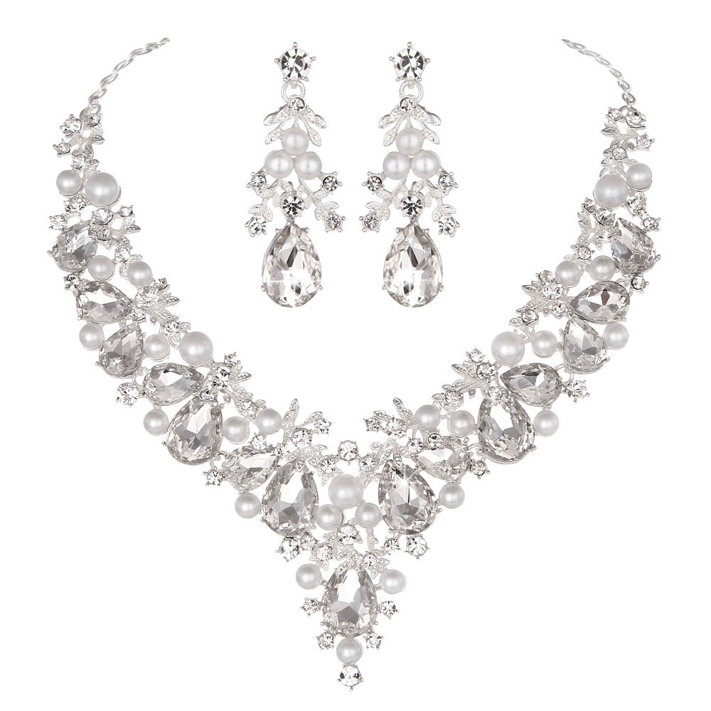 Youfir Bridal Rhinestone Simulated Pearl Necklace Earring Jewelry Set for Brides Wedding Party Dress(Clear)