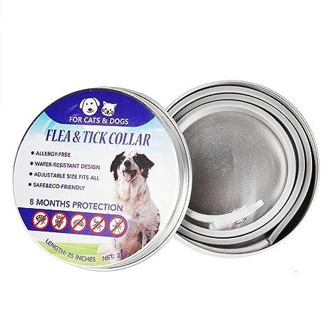 AIMIER Collar impermeable para perro, antipulgas y garrapatas, 8 meses, protección ecológica,