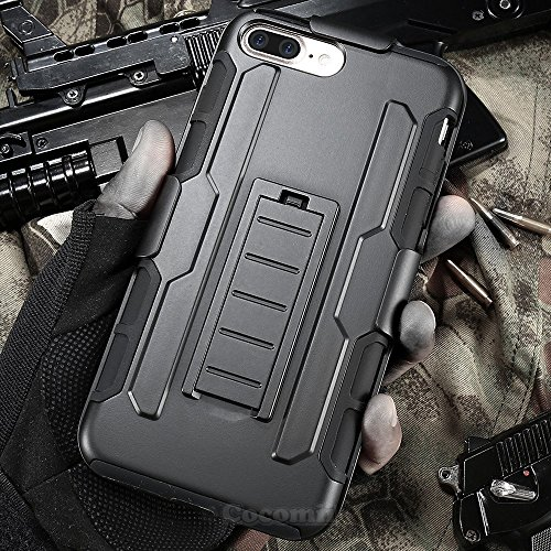 iPhone 8 Plus / 7 Plus Case, Cocomii Robot Armor NEW [Heavy Duty] Premium Belt Clip Holster Kickstand Shockproof Hard Bumper Shell [Military Defender] Full Body Dual Layer Rugged Cover Apple (Black)