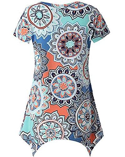 Tops Casual Taille Grande Bleu Manches Femmes Irrgulire Rond Courtes T Imprim Shirt Col waPOYqX