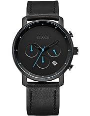Mens Casual Sport Watch Waterproof, Analog Quartz Chronograph Wrist Watches Black Leather Strap, Chronograph Date - BAOGELA