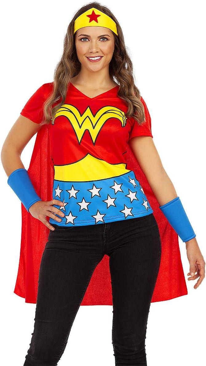 Funidelia | Kit Wonder Woman Oficial para Mujer Talla M ▶ Mujer Maravilla, Superhéroes, DC Comics, Liga de la Justicia, Camiseta, Capa, Tiara y muñequera
