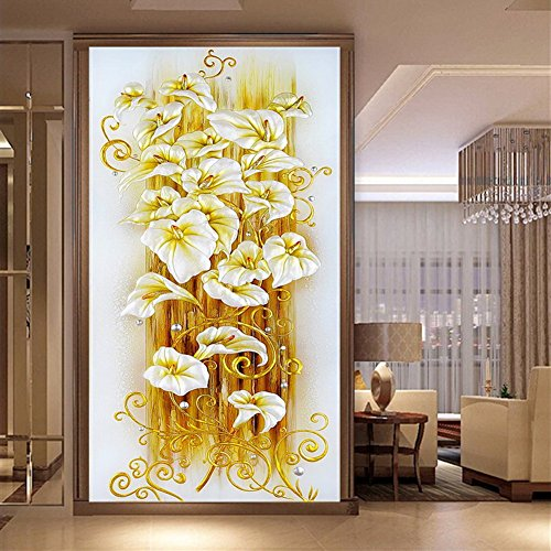 WindGoal 5D DIY Diamond Painting Resin Pictures Of Crystals Embroidery Patchwork & Cross Stitch For Decoration Gift-Golden Lily(50x90cm) ()