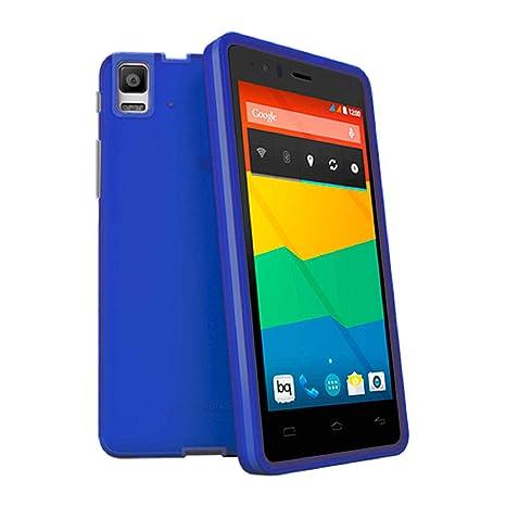 TBOC® Funda de Gel TPU Azul para bq Aquaris E5 HD - E5 FHD de Silicona Ultrafina y Flexible