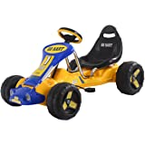 Costzon Yellow Black Products Go Kart 4 Wheel Kids Ride on Car Stealth Pedal Powered Outdoor Racer