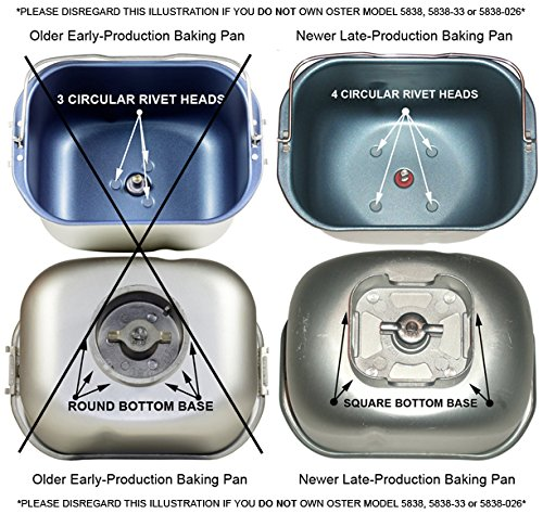 Amazon NEW Kneading Paddle Fits OSTER MODEL 5838 026 ExpressBake FITS NEWER 4 RIVET BAKING PAN