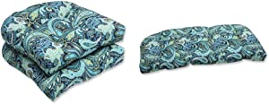 Pillow Perfect Outdoor Pretty Paisley Wicker Seat Cushion, Blue, Set of 2 with Pillow Perfect 543819 Outdoor/Indoor Pretty Paisley Navy Tufted Loveseat Cushion, 44