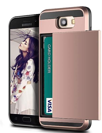 Vunake Compatible with Samsung Galaxy A5 2017 Hülle,[Kartenfach] Handyhülle Doppelte Schutzschicht Silikon TPU + PC Fallschut