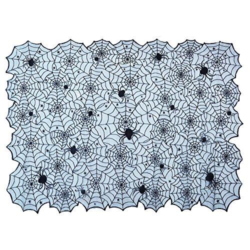 Topbuti Black Lace Tablecloth, Rectangular Halloween Spider Web Lace Tablecloth Halloween Cobweb Tablecloth Tablecover Party Supplies for Halloween Party,Décor,Dinner, 73x54 -