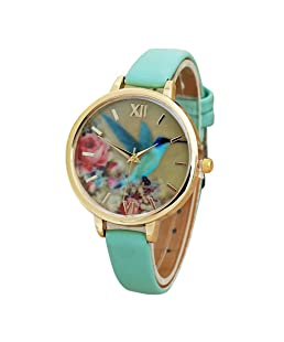 COOKI Hummingbird Pattern Watches Analog Ladies Watches Girl Watches Leather Female Watches-A15 (Green)